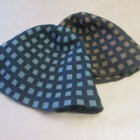 wool hood checked/ 2-side