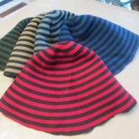 wool hood striped/ 2-side